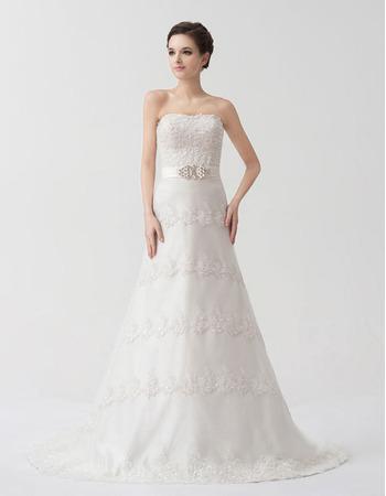 Winter A-Line Strapless Floor Length Satin Organza Wedding Dresses