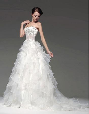 Inexpensive A-Line Sweetheart Floor Length Satin Organza Ruffle Wedding Dresses