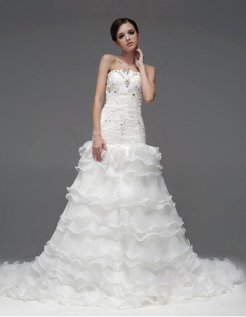 Gorgeous A-Line Strapless Floor Length Satin Organza Tiered Wedding Dresses