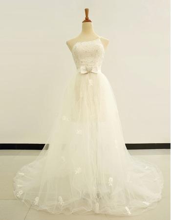 Popular Sheath/ Column One Shoulder Short Wedding Dresses with Detachable Train
