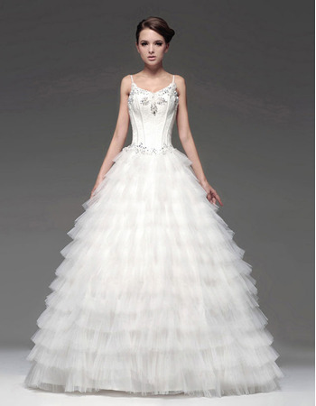 Fall/Winter A-Line Spaghetti Straps Floor Length Satin Tulle Tiered Wedding Dresses with Spaghetti Straps