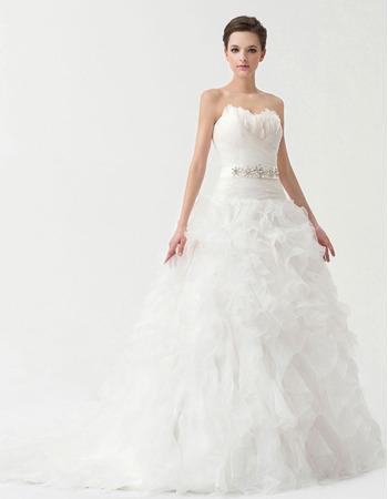 Designer Ball Gown Sweetheart Floor Length Satin Organza Wedding Dresses