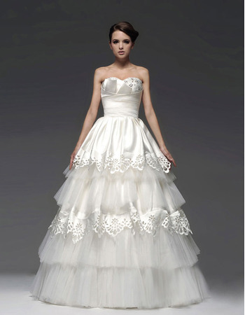 Gorgeous A-Line Sweetheart Floor Length Tiered Taffeta Organza Wedding Dresses for Fall/ Winter