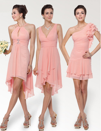 Sexy Sheath/ Column Chiffon Bridesmaid Dresses for Spring/Summer Wedding