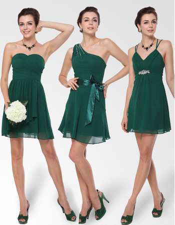 Affordable Sweetheart One Shoulder, Spaghetti Straps Sexy A-Line Short Chiffon Bridesmaid Dresses