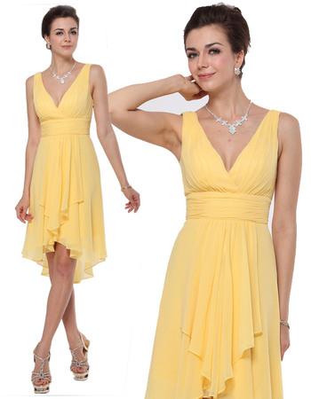 Chic Sheath V-Neck Knee Length High-Low Ruched Chiffon Bridesmaid Dresses