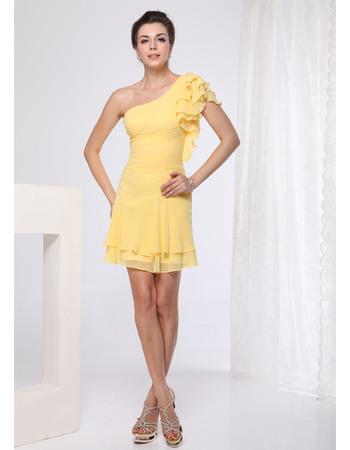 Sexy Sheath/ Column One Shoulder Short/ Mini Chiffon Bridesmaid Dresses