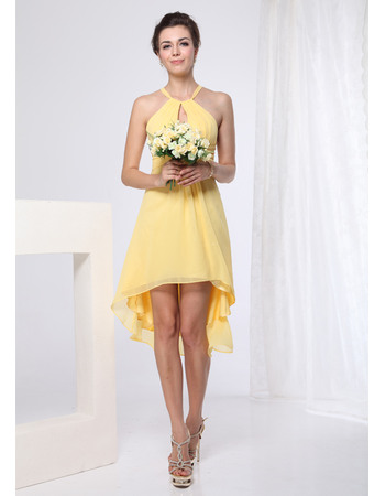 Chic Sheath Straps Short/ Mini Chiffon Bridesmaid Dresses for Summer Beach Wedding