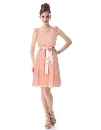 Discount Sheath Round Short/ Mini Chiffon Bridesmaid Dresses for Summer/Beach Wedding