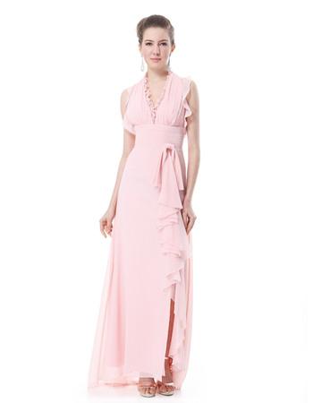 Gorgeous V-Neck Chiffon Split Sheath Long Evening Dresses for Spring