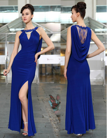 Newest Sheath/ Column Bateau Blue Chiffon Ankle Length Split Evening/ Prom Dresses