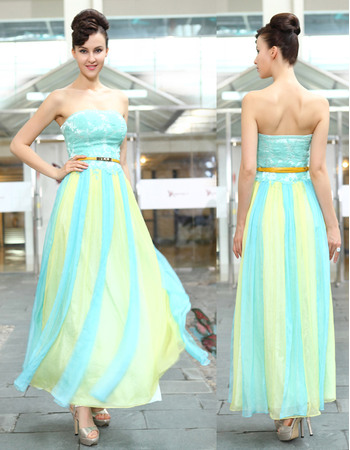 Colorful Sheath Strapless Coral Chiffon Ankle Length Evening Dresses for Prom/ Party