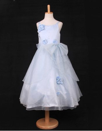 Perfect A-Line Spaghetti Straps Tea Length Satin Organza Party Flower Girl Dresses with Layered Draped High-Low Skirt