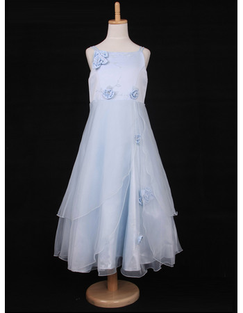 Perfect A-Line Spaghetti Straps Tea Length Satin Organza Flower Girl Dresses with Layered Draped High-Low Skirt