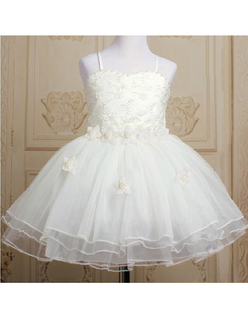 Princess Ball Gown Spaghetti Straps Knee Length Lace Satin Tulle First Communion/ Flower Girl Dresses with Petal Detailing