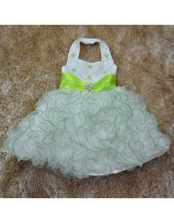 Gorgeous Luxury Beaded Ball Gown Halter Tea Length Satin Organza Flower Girl Dresses with Ruffles Galore