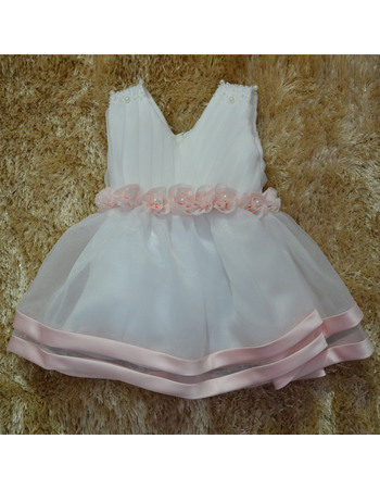 Custom Cute Ball Gown V-Neck Knee Length Satin Organza First Communion/ Flower Girl Dresses