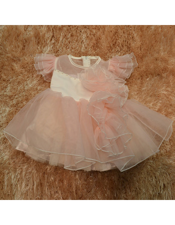 Cute Ball Gown Round/ Scoop Knee Length Organza Easter Dresses/ Flower Girl Dresses