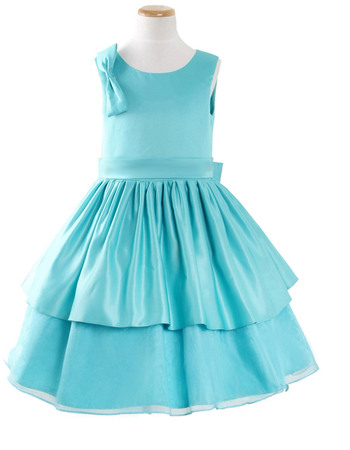 Beautiful Simple A-Line Round Tea Length Satin Easter Dresses/ Flower Girl Dresses with Tiered Skirt