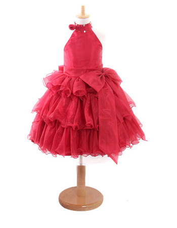 Gorgeous Ball Gown High Neck Knee Length Satin Organza Party Easter Dresses/ Flower Girl Dresses with Ruffled Tiered Skirt