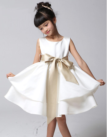 Pretty Simple A-Line Round/ Scoop Knee Length Empire Satin First Communion/ Tiered Skirt Flower Girl Dresses