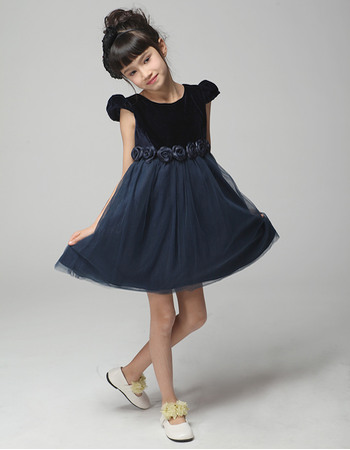 Simple Discount A-Line Scoop Neck Short Satin Tulle Empire Evening Flower Girl Dresses