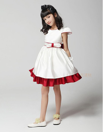 Pretty Discount A-Line Round Neck Cap Sleeves Short Satin Empire Color Block Party Flower Girl Dresses