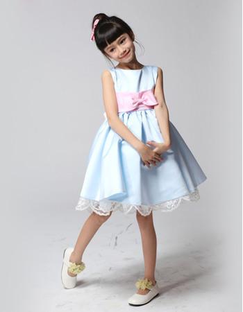 Discount Cute A-Line Bateau Neck Knee Length Satin Flower Girl Dresses with Scalloped Hem