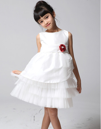 Lovly Custom A-Line Knee Length Satin Tulle Tiered First Communion/ Flower Girl Dresses with Layered Draped High-Low Skirt