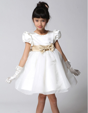 Lovly Custom Ball Gown Round Neck Satin Organza First Communion/ Flower Girl Dresses with Puff Cap Sleeves
