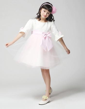 Discount Custom A-line Round Half Sleeves Knee Length Satin Tulle Short First Communion/ Flower Girl Dresses