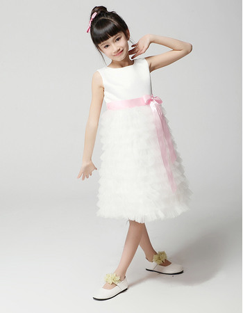 Cute Discount A-Line Bateau Knee Length Ruffle Tiered Skirt First Communion/ Flower Girl Dresses