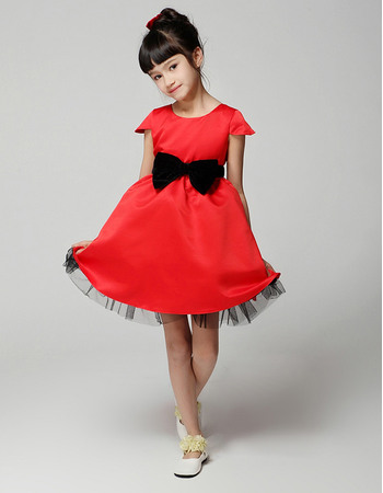 Simple A-Line Round Neck Cap Sleeves Short/Mini Color Block Flower Girl Dresses with Bow