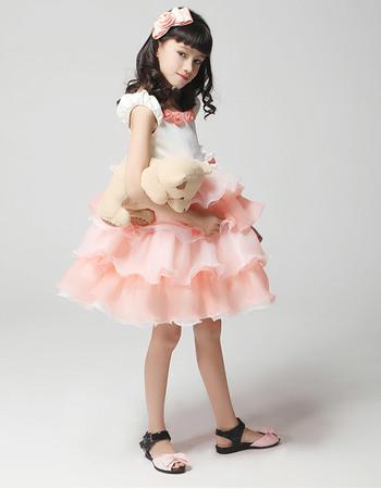 Lovely A-Line Round Neck Short/Mini Satin Organza Ruffled Tiered Skirt Easter Dresses/ Flower Girl Dresses