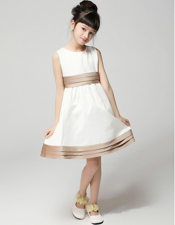 Simple A-Line Round Short/Mini Satin Empire First Communion/ Flower Girl Dresses