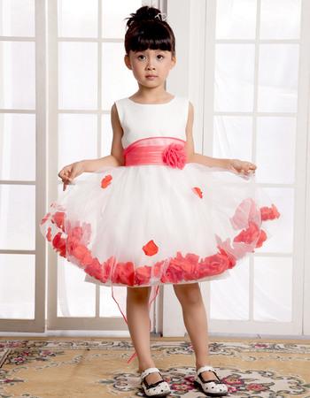 Lovely A-Line Round/Scoop Knee Length Empire Satin First Communion/ Flower Girl Dresses