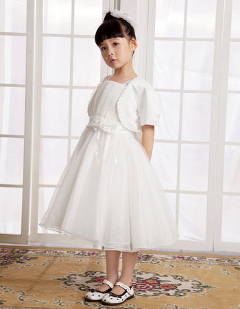 Concise A-Line Knee Length Satin Tulle First Communion Flower Girl Dresses with Jacket