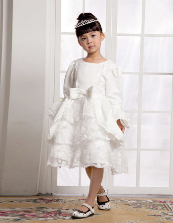Special A-line Knee Length Satin First Communion Flower Girl Dresses with Tiered Skirt and Long Bell Sleeves