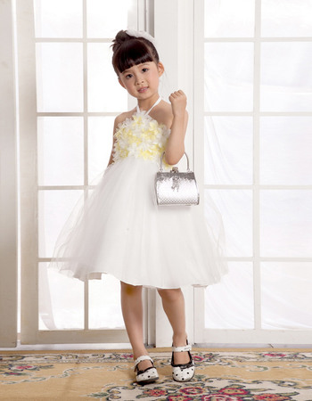 Discount A-line Empire Halter Knee Length Easter Dresses/ Flower Girl Dresses