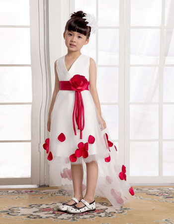 Fashionable A-Line V-Neck High-Low Sweep Train Satin Tulle Flower Girl Dresses with Petal Detailing