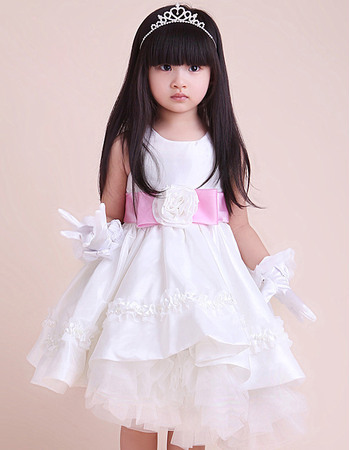 Organza A-Line Round Knee Length Satin Tulle Empire Party Flower Girl Dresses
