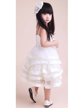 Affordable A-Line Spaghetti Straps Knee Length Satin Organza Tiered Skirt Flower Girl Dresses