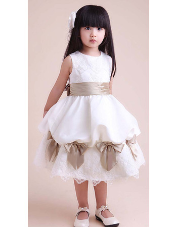 Discount Custom A-Line Round Knee Length Satin Bow Party Flower Girl Dresses with Appliques