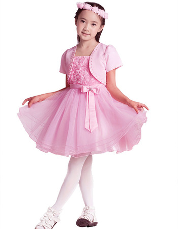 Lovely Beautiful A-Line Spaghetti Straps Short Party Flower Girl Dresses with Floral Lace Bodice