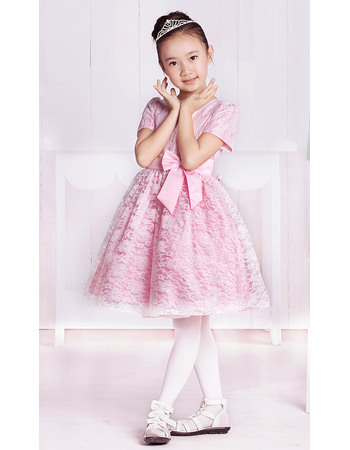 Simple Affordable A-line Round Short Sleeves Knee Length Lace Party Flower Girl Dresses with Bow
