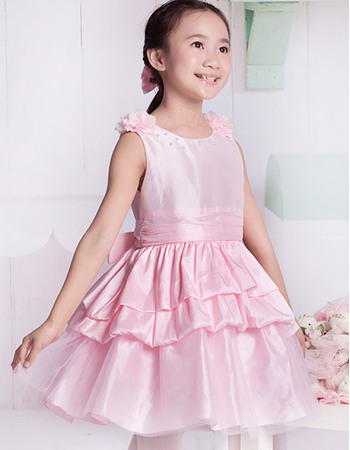 Lovely A-Line Round Neck Short Taffeta Tulle Party Flower Girl Dresses with Layered Draped High-Low Skirt
