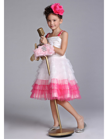 Discount A-line Wide Straps Knee Length Tiered Tulle Color Block Easter Dresses/ Flower Girl Dresses