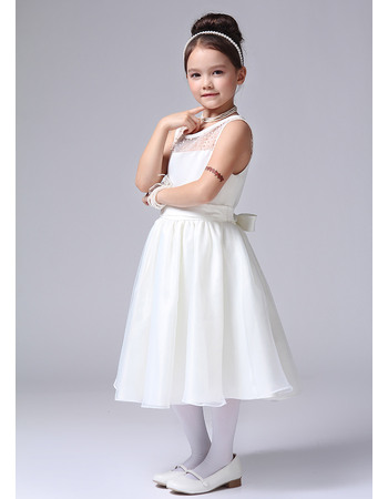 Pretty Beaded Round Neckline Tea Length Organza First Communion Flower Girl Dresses with Satin-trimmed