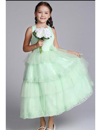 Affordable Pretty A-line Halter Neck Tea Length Satin Tulle Easter Dresses/ Flower Girl Dresses