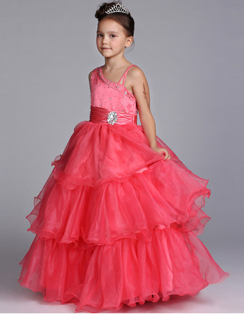 Fashionable Luxury Beaded Ball Gown One Shoulder Floor Length Satin Organza Girls Party Dresses with Ruched Tiered Skirt